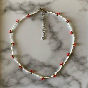 Dainty Cherry beaded choker necklace
